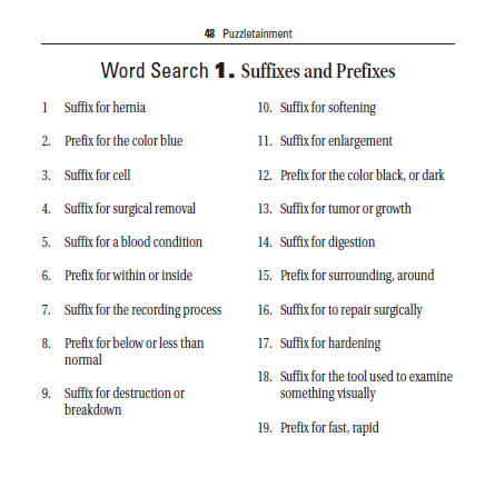 Medical terminology word search clues