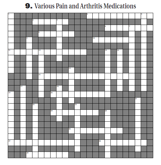 Various Pain and Arthritis Meds Pharmacy Crossword Empty Grid