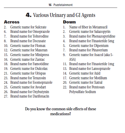 Various Urinary Agents Pharmacy Crosswords Clues