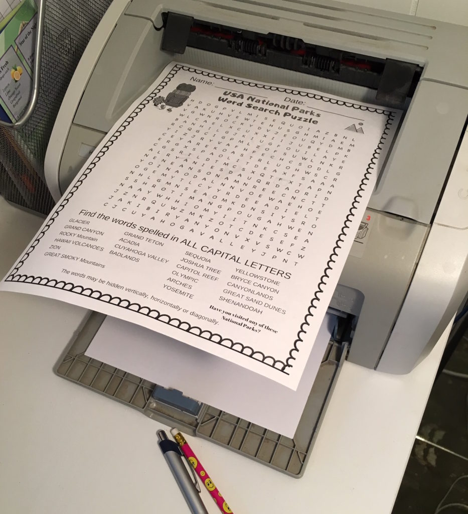 USA National Parks Word Search Puzzle - free printable word search for kids