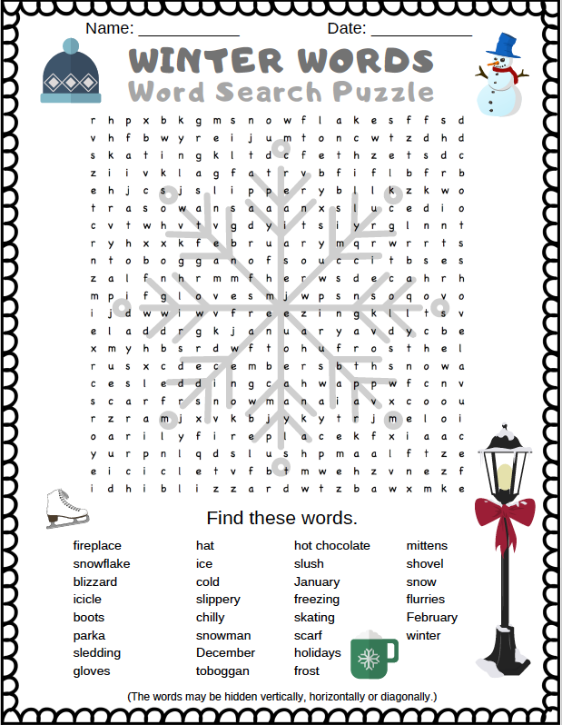 Winter Word Search Puzzle Free printable PDF word search puzzle for kids