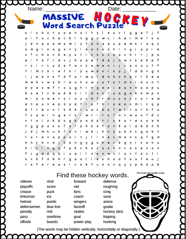 Hockey Word Search Puzzle (Free printable PDF word search puzzle). If your kids love hockey word searches they should check this out.