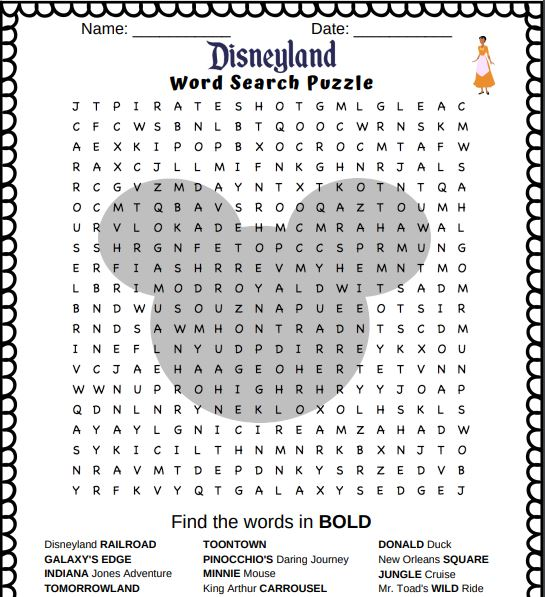 Disneyland Word Search Puzzle - free printable Disneyland Word Search puzzle in PDF format. Great fun and contains 18 words related to Disneyland.