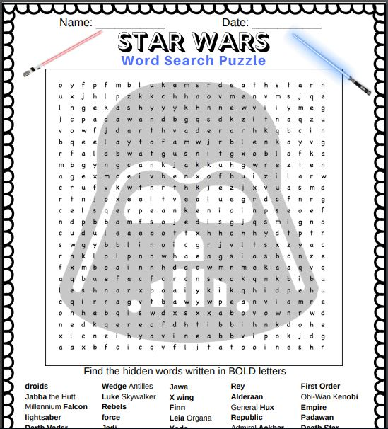 Free Star Wars printable word search puzzle in PDF format - snapshot of what it looks like