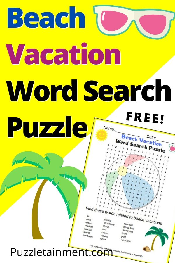 Beach Vacation Word Search Puzzle (fun free printable PDF puzzle for grades 2-5)