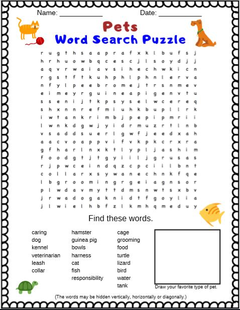 Pets Word Search Puzzle for kids. A free printable PDF word search puzzle.
