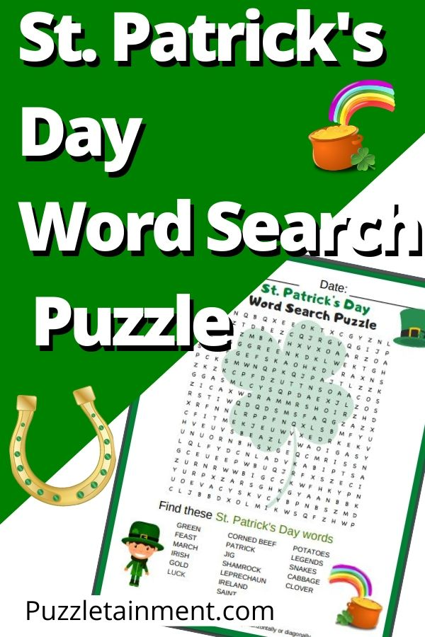 St. Patrick's Day Word Search Puzzle Printable PDF