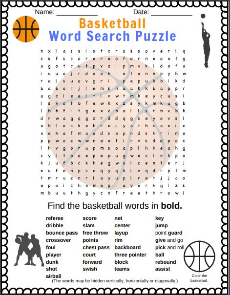 Basketball Word search puzzle from Puzzletainment. And it includes basketball word search answers in this PDF