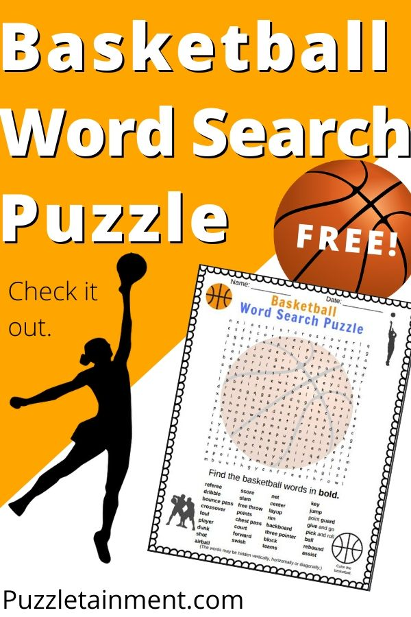 Basketball word search printable puzzle from Puzzletainment