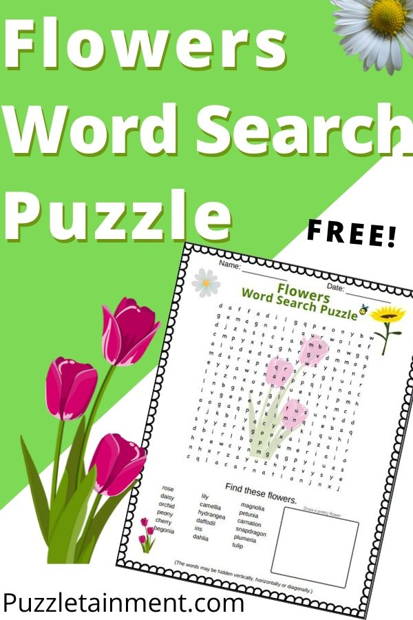 Flowers word search puzzle for kids and adults (pinterest pin)