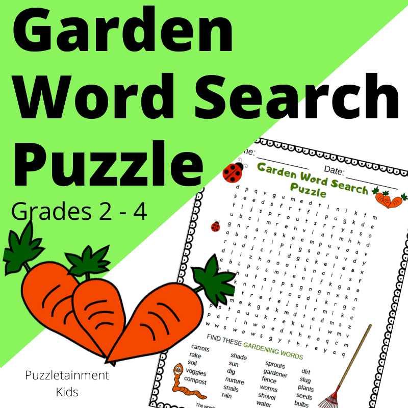 Garden Word Search puzzle. Free printable PDF word search from Puzzletainment.com