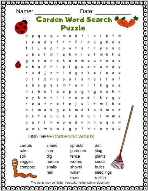 Garden word search puzzle from Puzzletainment.com  It is a free printable PDF word search puzzle for kids