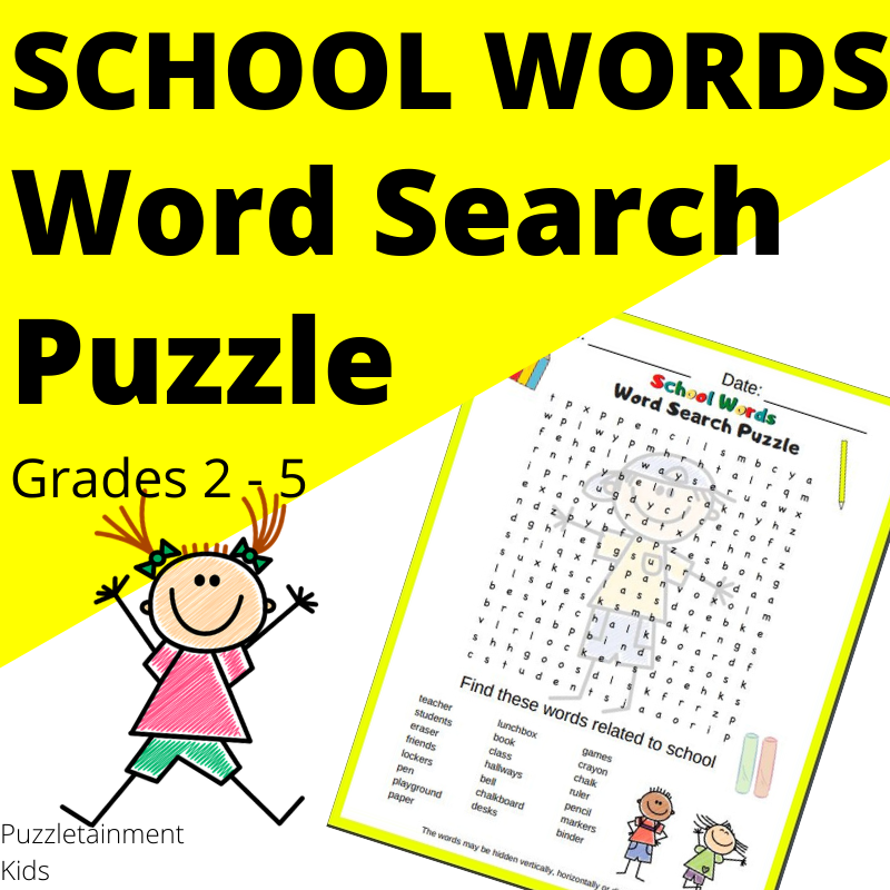 School words word search puzzle for kids in grades 2 - 5.  It is a free printable PDF puzzle.