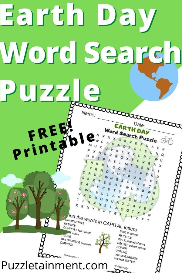 Earth Day Word search puzzle for kids. Free printable PDF earth day word search puzzle for kids