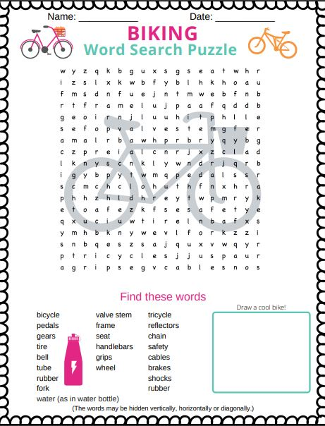 Biking Word Search Puzzle for Kids - free printable PDF word search puzzle