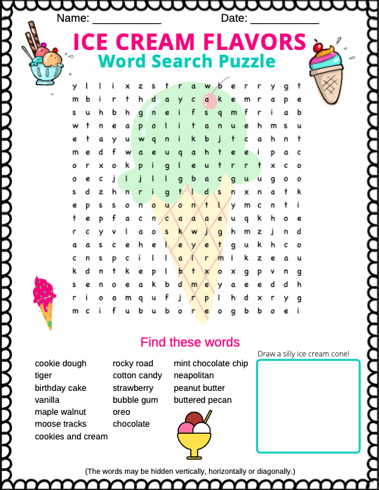 Ice Cream Word Search printable PDF ... for kids or adults that are young at heart :)
