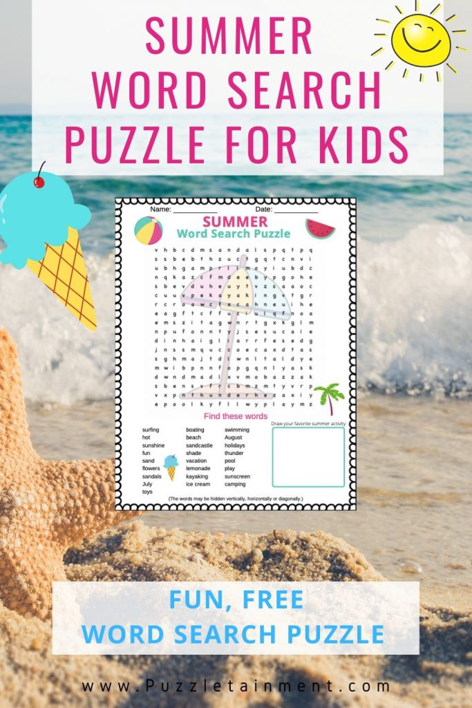 Summer Word search puzzle for kids free printable PDF word search
