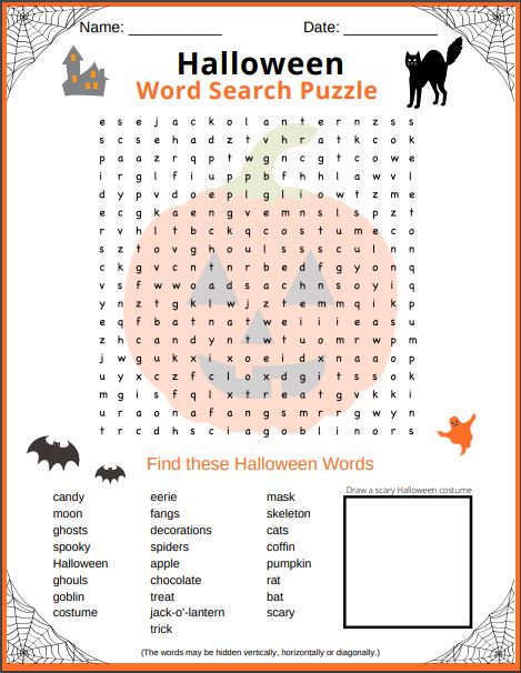 Halloween Word search puzzle free printable PDF for kids