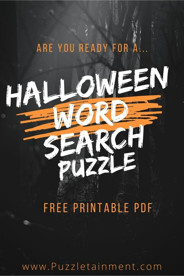 Halloween Word Search Puzzle for kids - free printable PDF