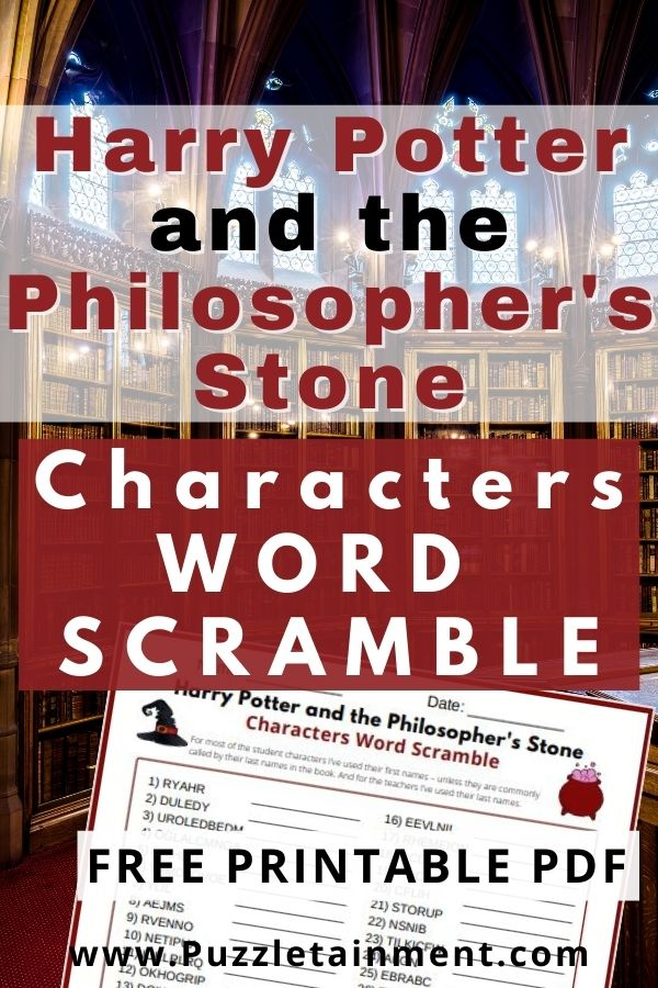 Harry Potter and the Philosopher's Stone Characters Word Scramble Free Printable PDF with Answer Key