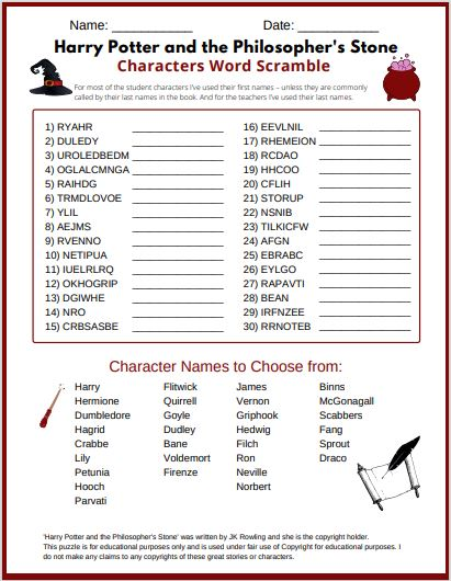 Harry Potter and the Philosopher's Stone Characters Word scramble free printable PDF with Answer key. A super fun Harry potter word scramble for kids and Potterheads of all ages.