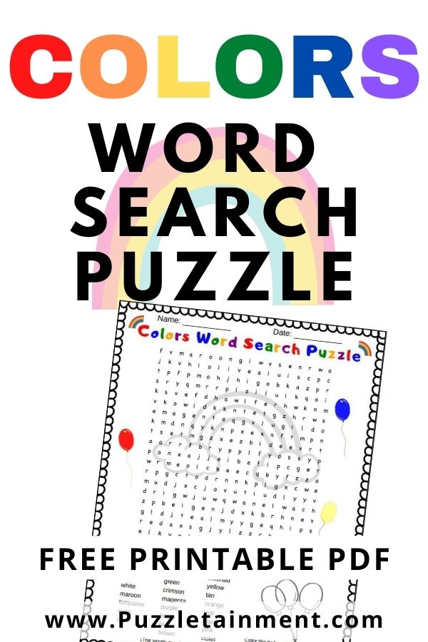 Colors Word Search PDF printable. Free word search puzzle for kids