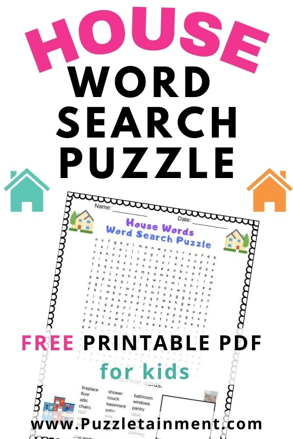 House word search printable PDF for kids. This word search features words about houses and the things you may find inside a house like furniture, rooms and amenities.