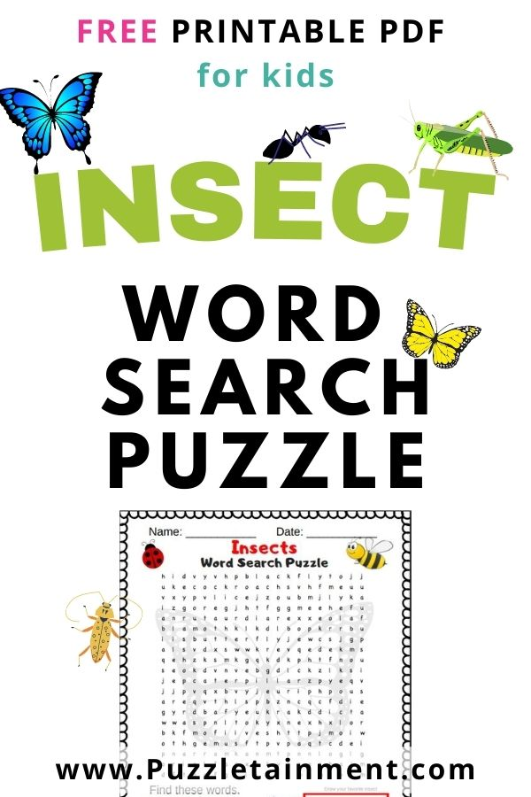 Insect word search PDF printable for kids.  Featuring 21 different insects.