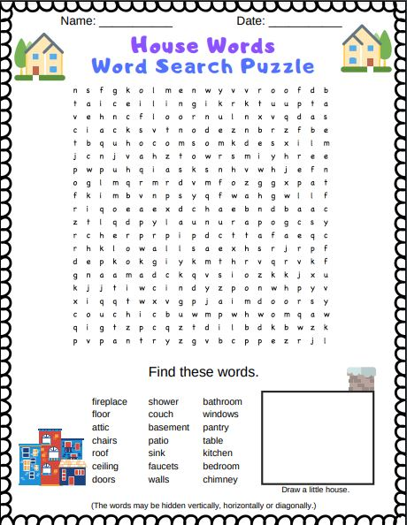House word search printable PDF puzzle for kids. It features words about houses and things that are in houses (such as furniture, rooms, doors, etc...)