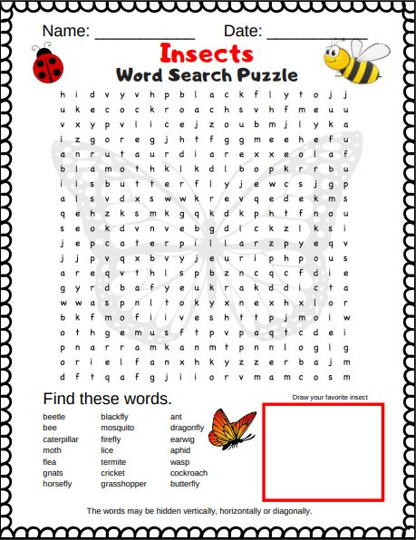 Insect word search PDF.  This is a free printable insect word search for kids. They can print off the pdf at home and start enjoying
