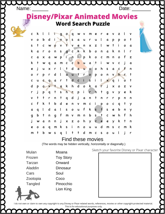 Disney Word search - animated movies from Disney or Pixar in this free printable PDF word search