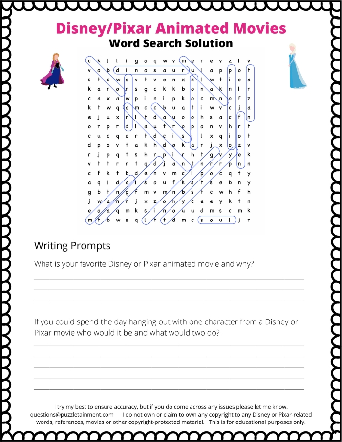 Disney word search answers page. Animated movies from Disney or Pixar. Includes some writing prompts for young students.