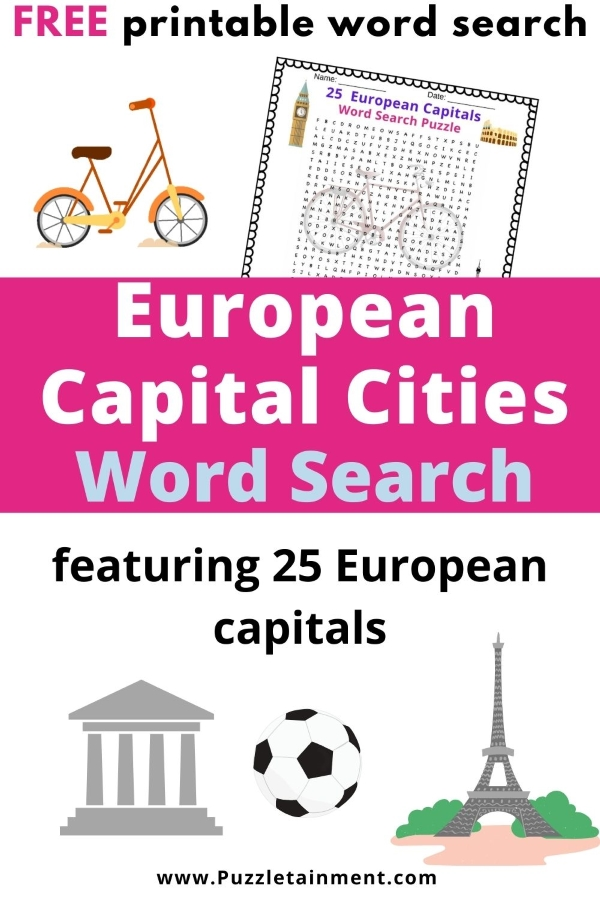 25 European Capital cities word search puzzle [free printable word search]