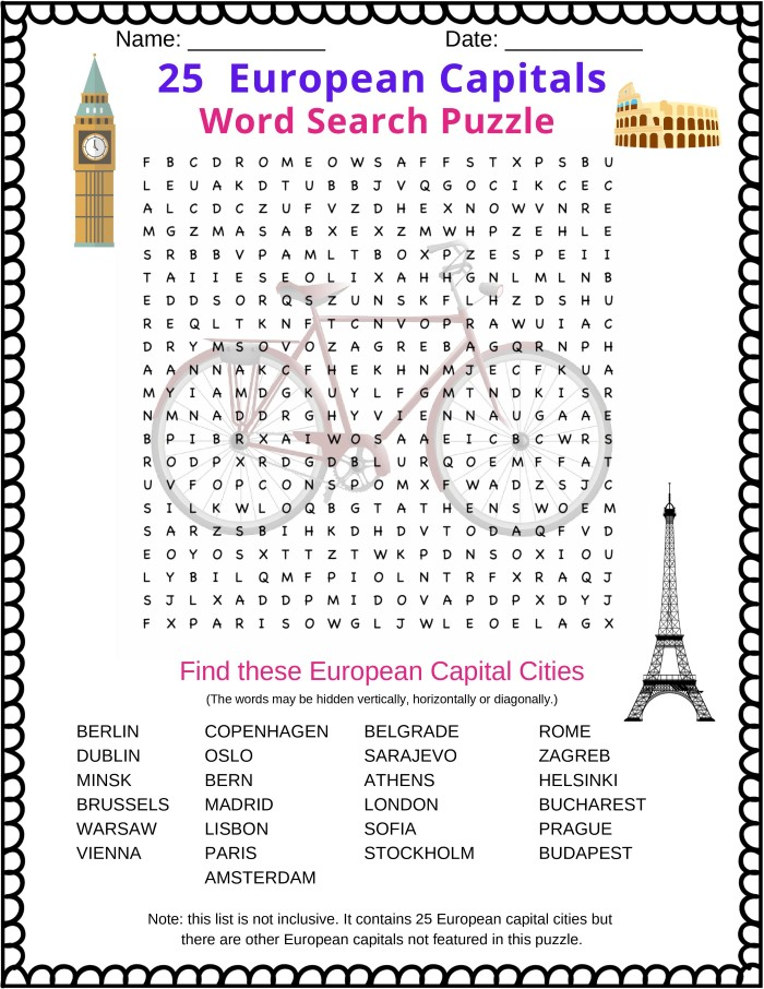 European Capital Cities Word Search puzzle featuring many of the most famous cities in Europe such as London, Paris, Berlin, Rome, Athens and more
