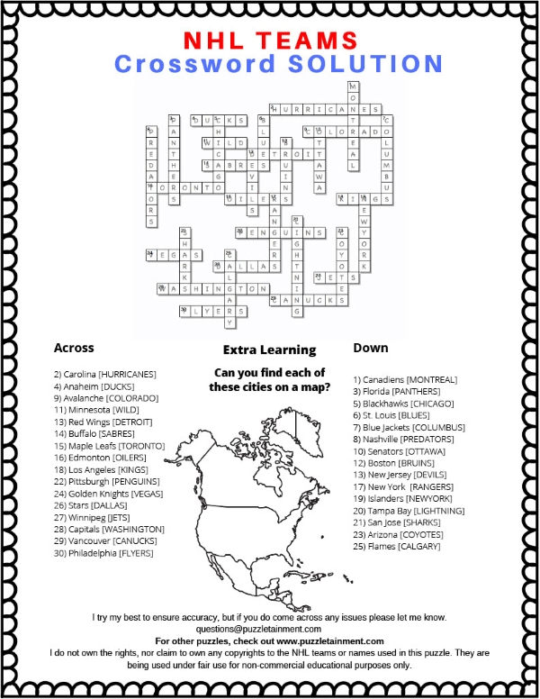 Free printable NHL hockey teams crossword puzzle for kids and hockey lovers of all ages