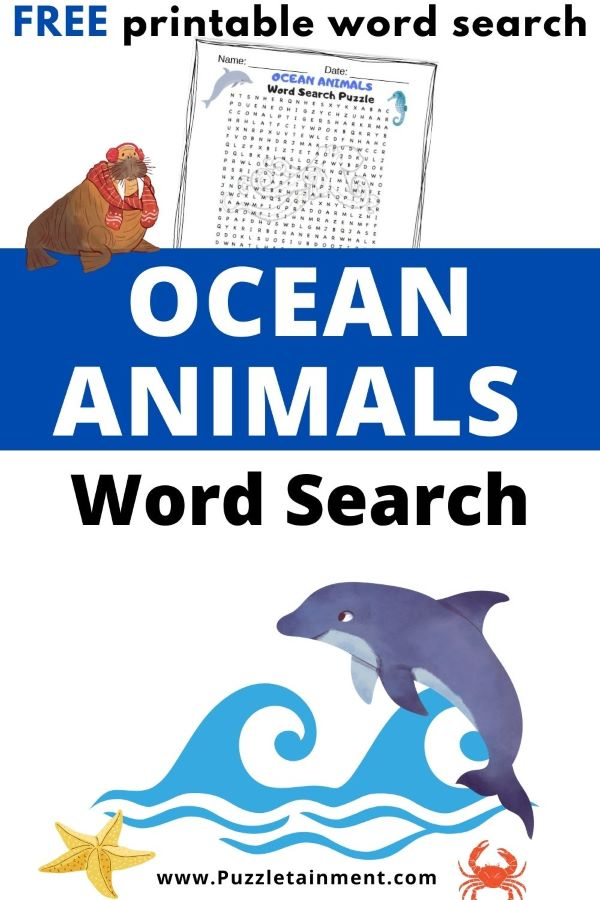 Ocean Animals word search for kids - free printable