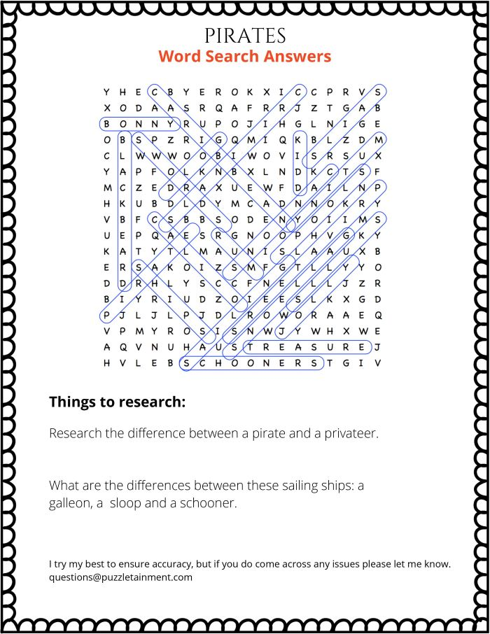 Pirates word search puzzle for middle schoolers