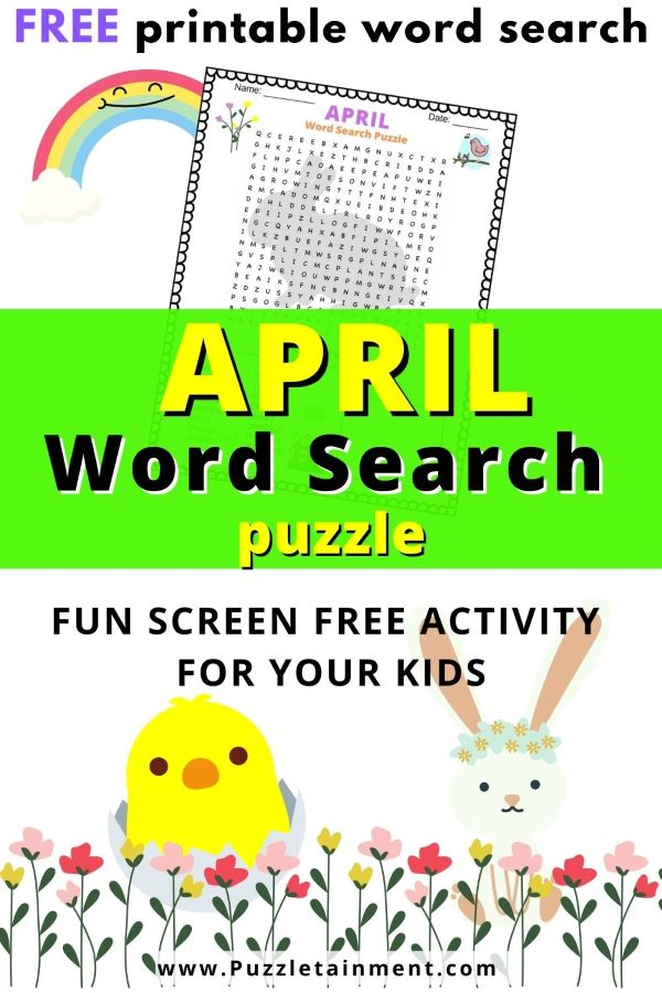 April word search puzzle - free printable PDF word search about April
