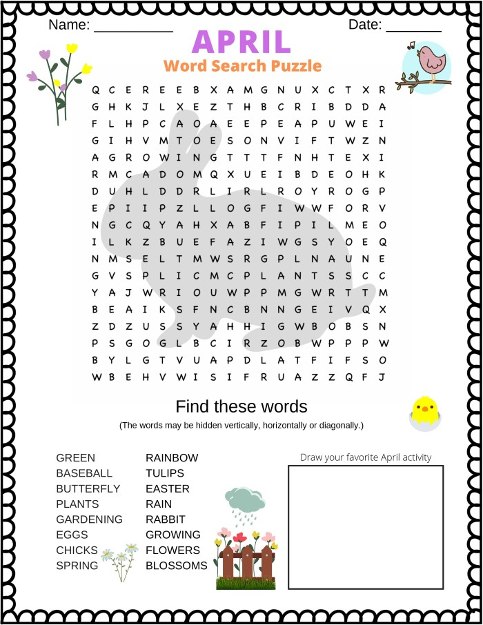 April word search puzzle - printable PDF.  Great word search for kids and other people that love April (and Spring)