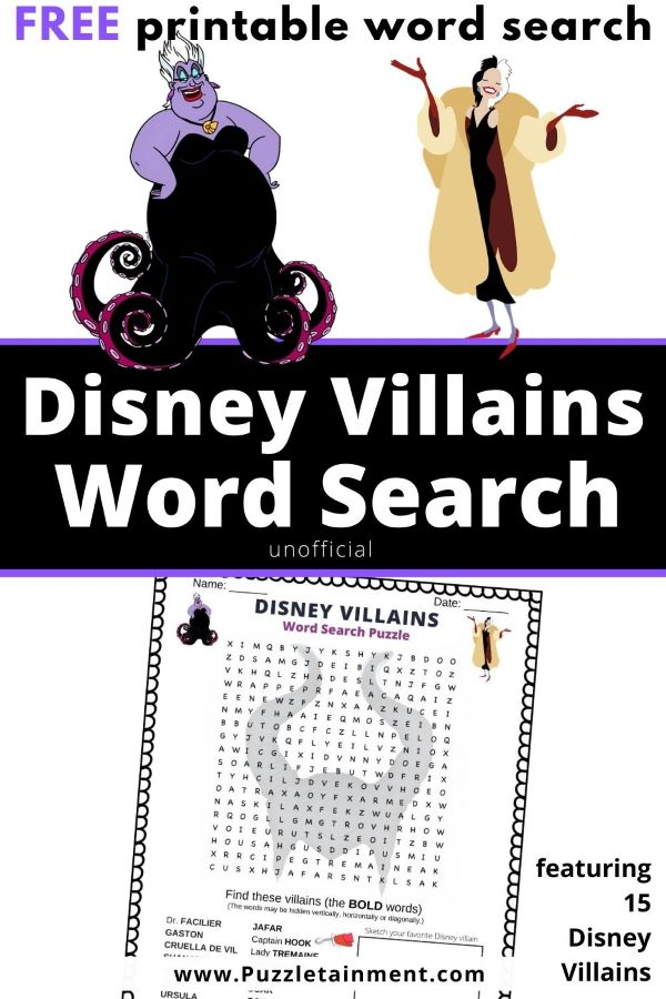 Disney Villains word search puzzle printable PDF free unofficial
