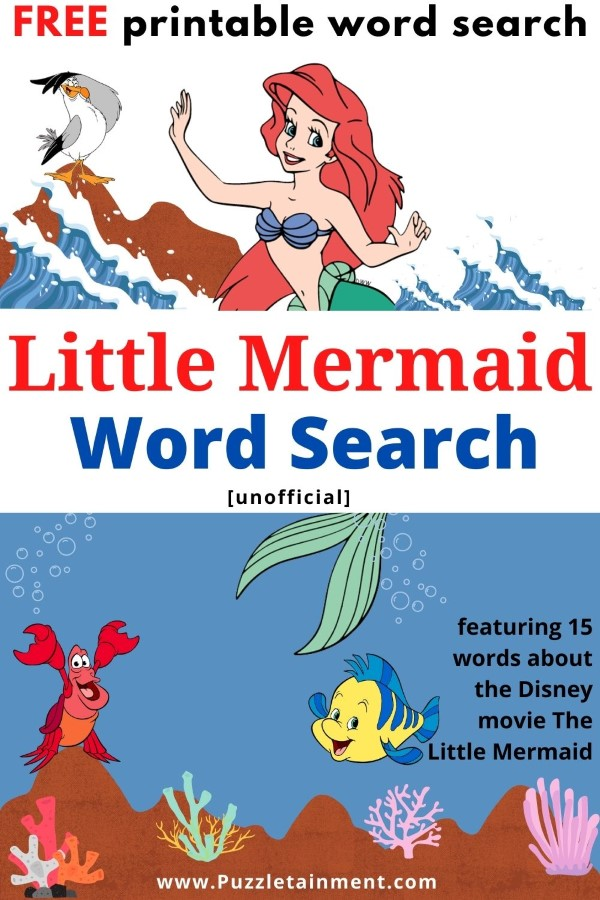 Little Mermaid Word Search puzzle for kids - printable PDF