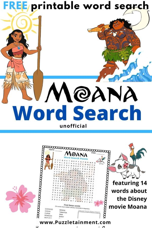 Moana word search puzzle for kids
