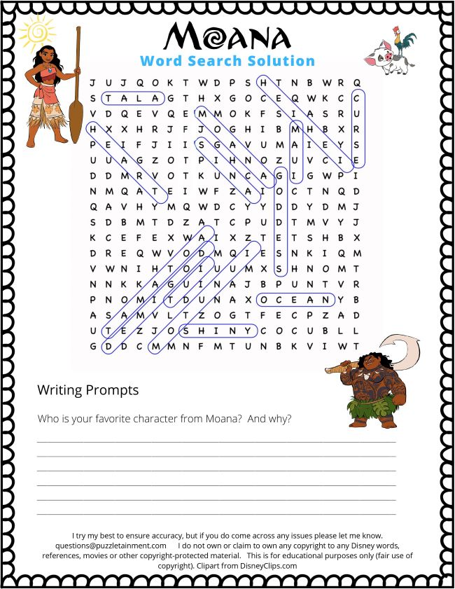 Solutions page for the Moana word search