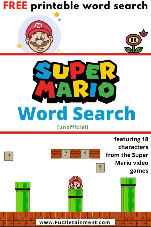 Super Mario word search puzzle printable PDF. This video game word search puzzle has 18 characters from the super mario video games.