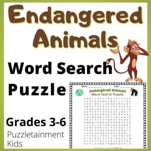 endangered animals word search puzzle - free printable PDF
