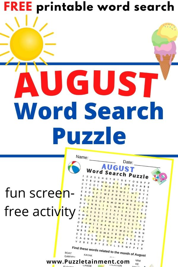 August word search puzzle