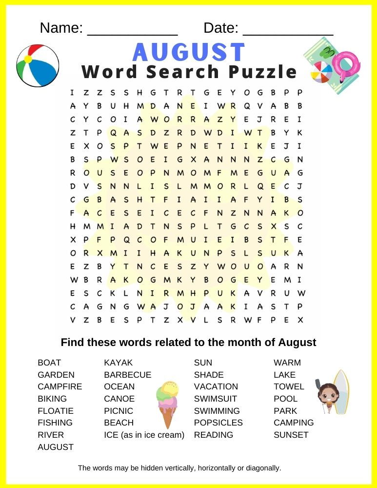 August Word Search Puzzle - free printable PDF