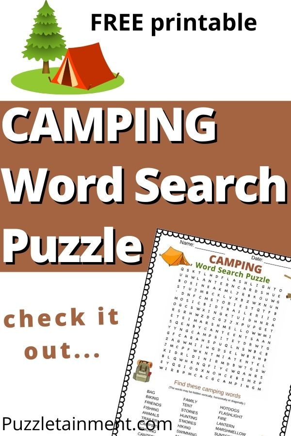 camping word search puzzle free printable PDF