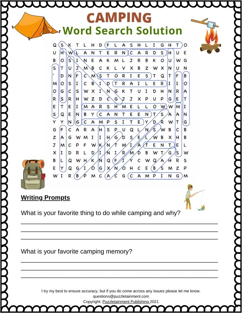 Camping word search answers page