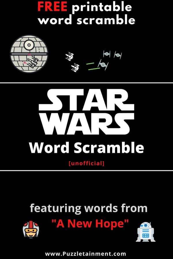 Star Wars word scramble free printable PDF featuring words from A New Hope